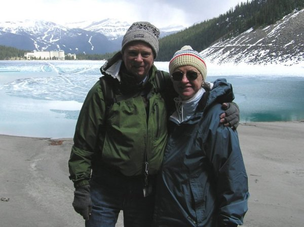 Brad and Joanne birding at Lake Louise, Alberta, Canada in May, 2004.
