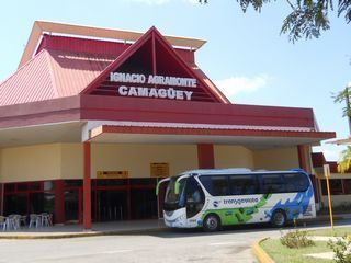 Camaguey Airport and our bus